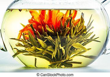 tea, világos, virág, teáskanna
