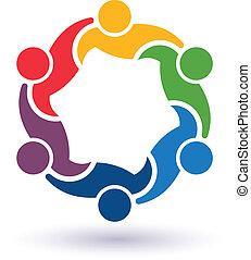 teaming, összekapcsolt, emberek, 6.concept, más., boldog, ételadag, ikon, vektor, csoport, barátok, mindegyik