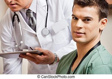 technikus, hím, háttér, orvos