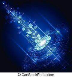 technológia, elvont, vektor, háttér, jövő, elektromos