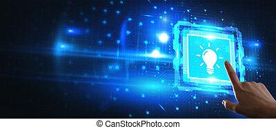 technológia, gumó, fény, concept., újítás, ügy, solution., networking, internet