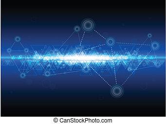 technológia, hálózat, háttér, digitális
