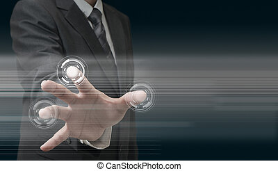 technológia, kéz, modern, dolgozó