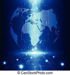 technológia, telecom, elvont, globális, vektor, háttér, jövő, elektromos