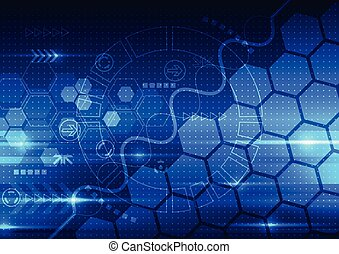 technológia, telecom, elvont, mérnök-tudomány, vektor, háttér, jövő