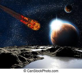 technologies., elvont, bolygó, eredetek, jövő, távoli, planets., kép, water., új, talál, utazás