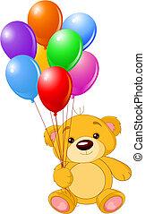 teddy-mackó, színes, birtok, hord, léggömb