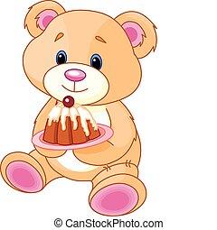 teddy-mackó, torta, hord
