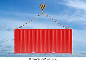 teherárú tároló, ég, begörbít, háttér, daru, piros