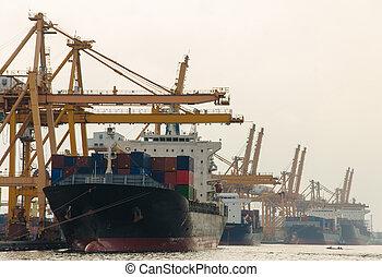 teherárú tároló, dolgozó, bridzs, shipyard., rakomány hajó, daru