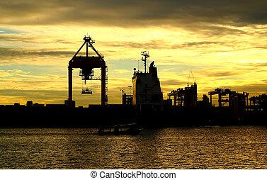 teherárú tároló, dolgozó, logis, napnyugta, rakomány hajó, daru