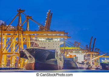 teherárú tároló, dolgozó, rakomány, daru, hajó