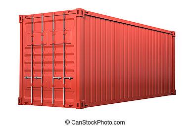 teherárú tároló, -, elszigetelt, háttér, white piros
