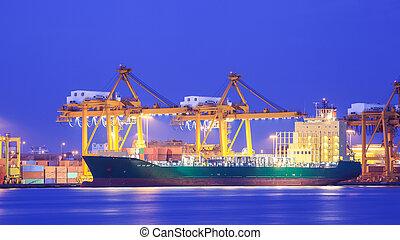 teherárú tároló, fogalom, kikötő, export, munkaszervezési, import, hajó, daru, szállít