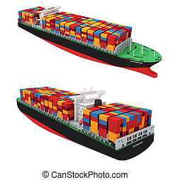 teherárú tároló, háttér, hajó, fehér, 3