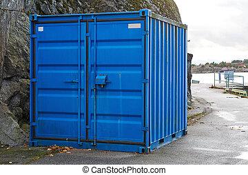 teherárú tároló, kék