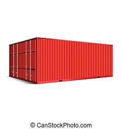 teherárú tároló, rakomány, motívum, elszigetelt, struktúra, hajózás, háttér, 3, piros, kilátás
