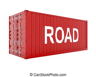 teherárú tároló, render, szöveg, út, piros, 3
