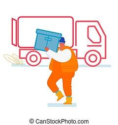 teherautó, rév, hajózás, export, világ-, hord, vektor, munkaszervezési, konténer, import, karikatúra, várakozás, csereüzlet, tengeri, berakodás megnyirbál, tengeri, rakomány, rakomány, munkás, ügy ábra, lakás, transportation.
