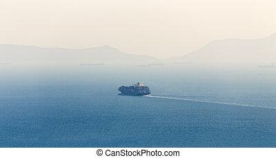 teherhajó, elhagyott, konténer, tenger