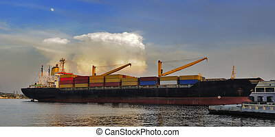 teherhajó, havanna, dokkolt, öböl
