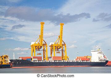 teherhajó, industrail, konténer, rakomány
