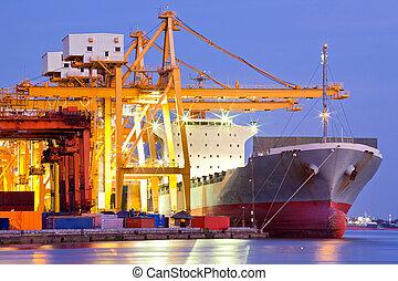 teherhajó, ipari, konténer