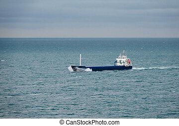 teherhajó, kívül, konténer, tenger