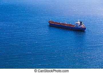 teherhajó, konténer, üres, tenger