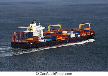 teherhajó, konténer, kilátás