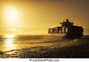 teherhajó, konténer, napnyugta