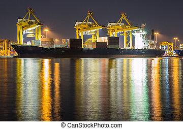 teherhajó, konténer, rakomány