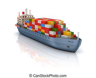 teherhajó, konténer