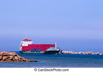 teherhajó, piros, tároló