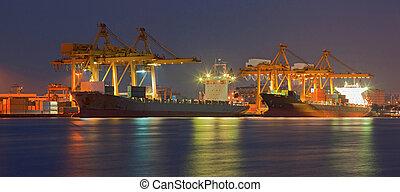teherhajó, rakomány, panoráma