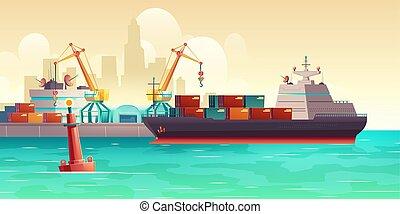 teherhajó, vektor, berakodás, rév, karikatúra