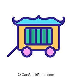 tehervagon, cirkusz, körvonal, vector., ábra, jelkép, elszigetelt, ikon