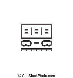 tehervagon, egyenes, rakomány, ikon