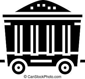 tehervagon, fekete, ikon, ábra, vektor, szén, glyph