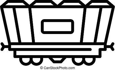tehervagon, mód, áttekintés, rakomány, ikon, vasút