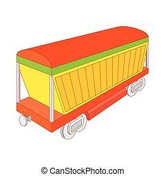 tehervagon, mód, rakomány, ikon, befedett, karikatúra
