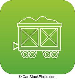 tehervagon, vasút, vektor, zöld, ikon