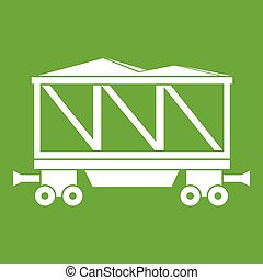 tehervagon, vasút, zöld, ikon