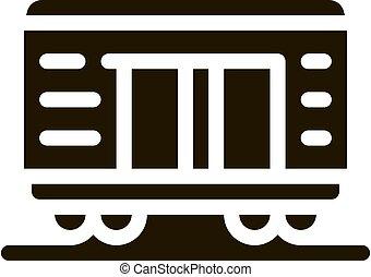 tehervagon, vektor, ábra, rakomány, ikon, glyph