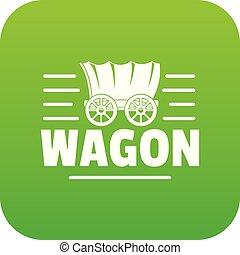 tehervagon, vektor, zöld, ikon