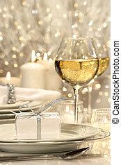 tehetség, ünnepies, letesz asztal, ezüst, szalag
