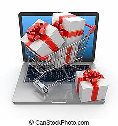 tehetség, e-commerce., laptop, bevásárlókocsi