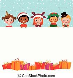 tehetség, gyerekek, csoport, jelmezbe öltöztet, karácsony