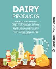 tejcsarnok, vektor, termékek, sablon, poszter