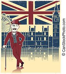 tekéző, london, struktúra, fekete, cane., öreg, háttér, kalap, angol, szüret, úriember